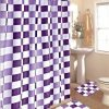 15pc-Purple-White-Checkers-Bathroom-Bath-Mats-Set-Rug-Carpet-Shower-Curtain-by-Bathmats-0