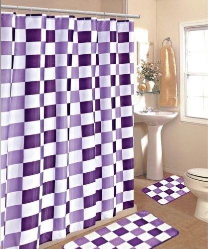 15pc-Purple-White-Checkers-Bathroom-Bath-Mats-Set-Rug-Carpet-Shower-Curtain-by-Bathmats-0