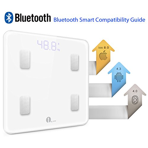 1byone-Digital-Smart-Scale-Body-Scale-Bathroom-Scale-Wireless-Body-Fat-Scale-with-IOS-and-Android-App-to-Manage-Body-weight-Body-Fat-Water-Muscle-Mass-BMI-BMR-Bone-Mass-and-Visceral-Fat-White-0-0