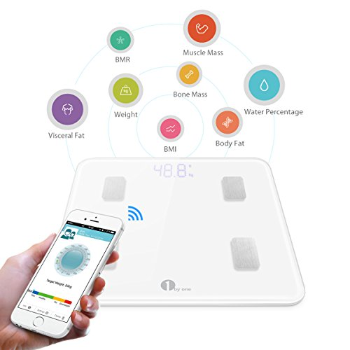 1byone-Digital-Smart-Scale-Body-Scale-Bathroom-Scale-Wireless-Body-Fat-Scale-with-IOS-and-Android-App-to-Manage-Body-weight-Body-Fat-Water-Muscle-Mass-BMI-BMR-Bone-Mass-and-Visceral-Fat-White-0-1