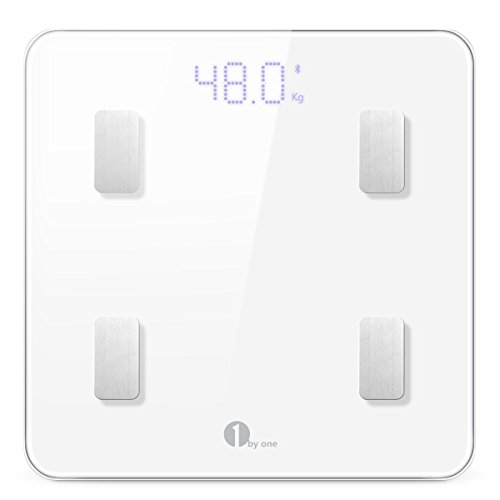 1byone-Digital-Smart-Scale-Body-Scale-Bathroom-Scale-Wireless-Body-Fat-Scale-with-IOS-and-Android-App-to-Manage-Body-weight-Body-Fat-Water-Muscle-Mass-BMI-BMR-Bone-Mass-and-Visceral-Fat-White-0