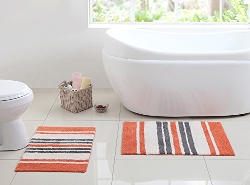 2-Piece-100-Cotton-Floor-Bath-MatRug-Set-Non-Skid-Backing-Stripes-17-x-24-and-20-x-30-0
