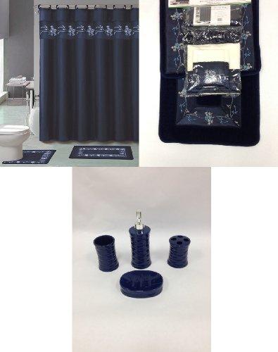 22-Piece-Bath-Accessory-Set-Navy-Blue-Flower-Bathroom-Rug-Set-Shower-Curtain-Accessories-0