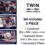 3-Piece-Baseball-Sports-Theme-Plaid-Red-White-and-Blue-Comforter-Set-Twin-Size-Bedding-Works-well-in-your-bedroom-Master-Room-Boys-Girls-Guest-Room-and-College-Dormitory-Great-Gift-Idea-0-0
