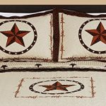 3-piece-Western-Lone-Star-Barb-Wire-Cabin-Lodge-Quilt-Bedspread-Coverlet-Set-0-0