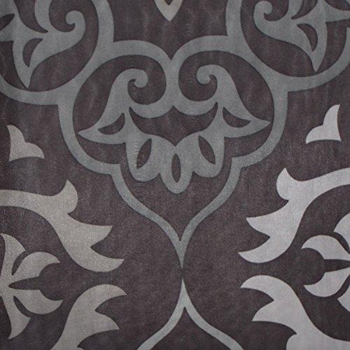 4-Piece-Bath-Set-Black-and-Gray-2-Chenille-Floor-Mats-Fabric-Shower-Curtain-Roller-Ball-Shower-Hooks-0-0