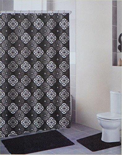 4-Piece-Bath-Set-Black-and-Gray-2-Chenille-Floor-Mats-Fabric-Shower-Curtain-Roller-Ball-Shower-Hooks-0