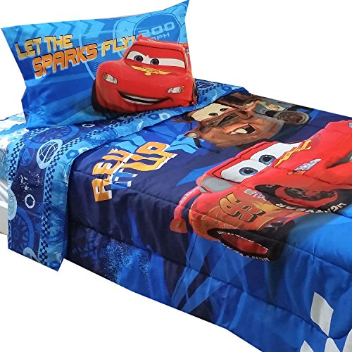 4pc-Disney-Cars-Twin-Bedding-Set-Lightning-McQueen-City-Limits-Comforter-and-Sheet-Set-0
