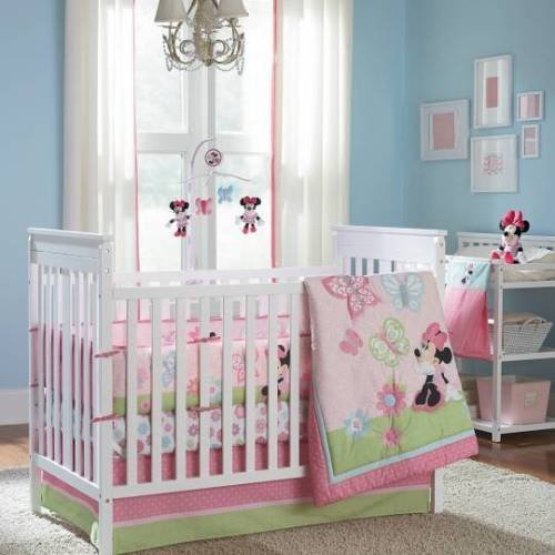 5-pieces-Disney-Minnie-Mouse-Butterfly-Charm-Crib-Bedding-Set-Bumper-Included-0