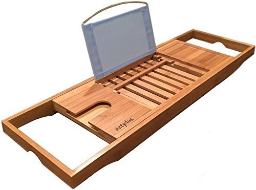 AZT-Plus-Luxury-Organic-Bamboo-Bathtub-Caddy-Tray-with-Extending-Sides-0
