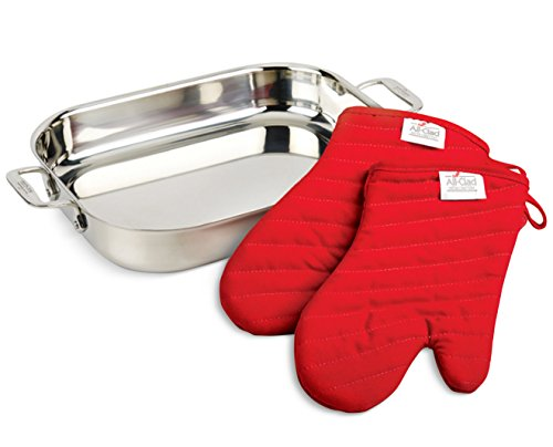 All-Clad-00830-Stainless-Steel-Lasagna-Pan-with-2-Oven-Mitts-Cookware-Silver-0