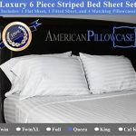 American-Pillowcase-Luxury-Bed-Striped-Sheet-Set-100-Egyptian-Cotton-540-Thread-Count-With-Wrinkle-Guard-5-colors-to-choose-from-0-1