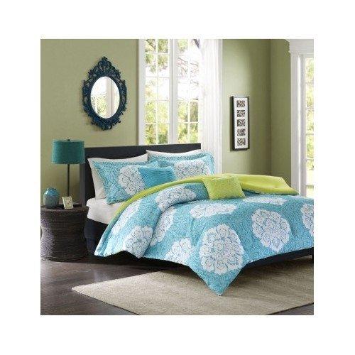 Aqua-Blue-Lime-Green-Floral-Damask-Print-Comforter-Bedding-Set-Girls-Teen-0-0