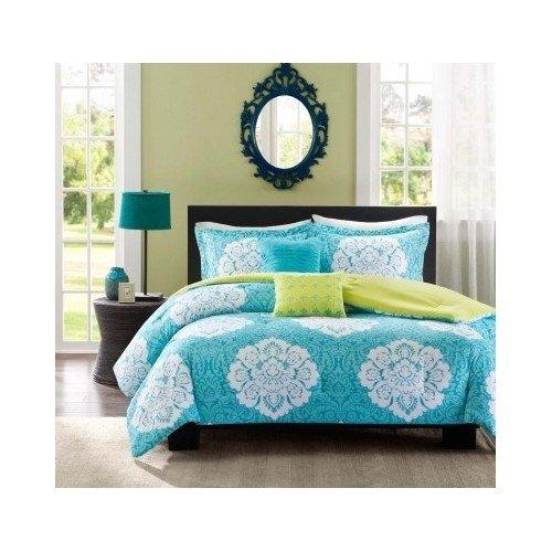 Aqua-Blue-Lime-Green-Floral-Damask-Print-Comforter-Bedding-Set-Girls-Teen-0