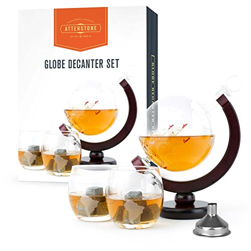 Atterstone-Whiskey-Decanter-Set-with-Whiskey-Stones-Gift-Set-Globe-Glasses-and-Funnel-850ml-Globe-Perfect-for-Fathers-Day-and-Graduation-Gift-Sets-0