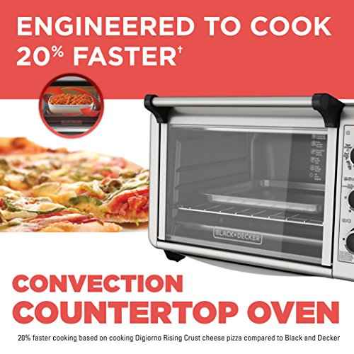 BLACKDECKER-TO3210SSD-6-Slice-Convection-Countertop-Toaster-Oven-Includes-Bake-Pan-Broil-Rack-Toasting-Rack-Stainless-SteelBlack-Convection-Toaster-Oven-0-0