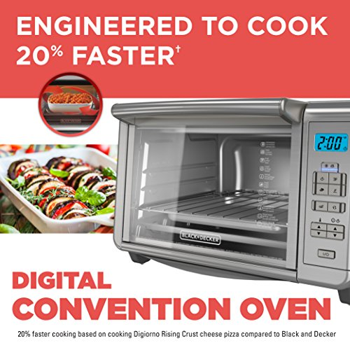 BLACKDECKER-TO3280SSD-6-Slice-Digital-Convection-Countertop-Toaster-Oven-Includes-Bake-Pan-Broil-Rack-Toasting-Rack-Stainless-Steel-Digital-Convection-Toaster-Oven-0-0