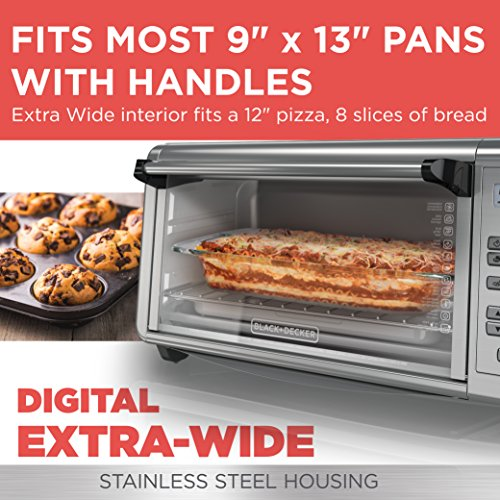 BLACKDECKER-TO3290XSD-8-Slice-Digital-Extra-Wide-Convection-Countertop-Toaster-Oven-Includes-Bake-Pan-Broil-Rack-Toasting-Rack-Stainless-Steel-Digital-Convection-Toaster-Oven-0-0