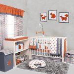 Bacati-Playful-Foxs-10-Piece-Crib-Set-Including-Bumper-Pad-OrangeGrey-0