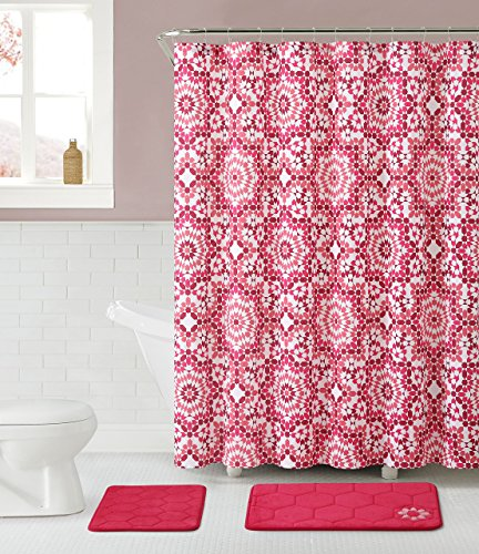 Bathroom-Set-2-Memory-Foam-Floor-Mats-Fabric-Shower-Curtain-Silver-RollerBall-Shower-Hooks-0