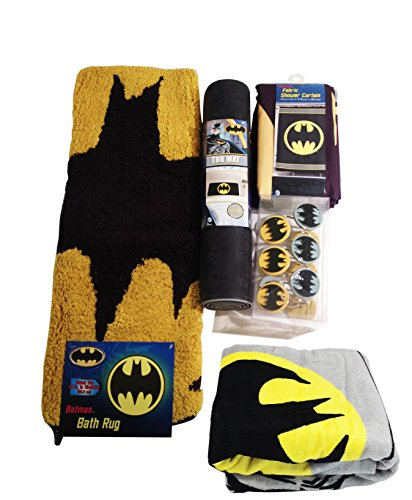 Batman-Bathroom-Set-Shower-Curtain-Hooks-Bath-Rug-Bath-Towel-and-Bath-Tub-Mat-0