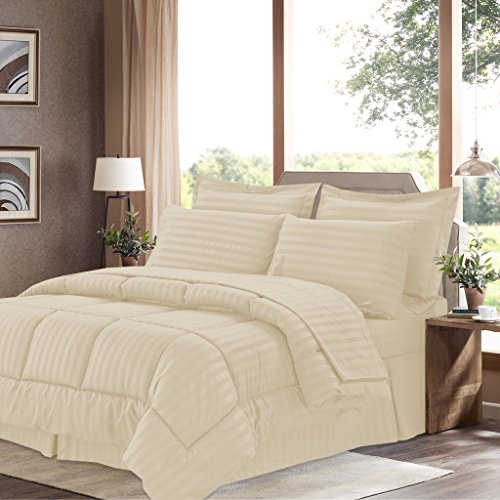 Bed-Bath-N-More-8-Piece-Bed-In-A-Bag-with-Dobby-Stripe-Comforter-Sheet-Set-Bed-Skirt-and-Sham-Set-King-Sage-0
