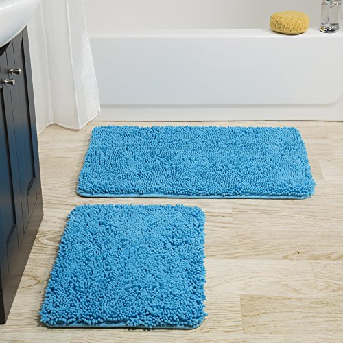 Bedford-Home-2-Piece-Memory-Foam-Shag-Bath-Mat-Blue-0
