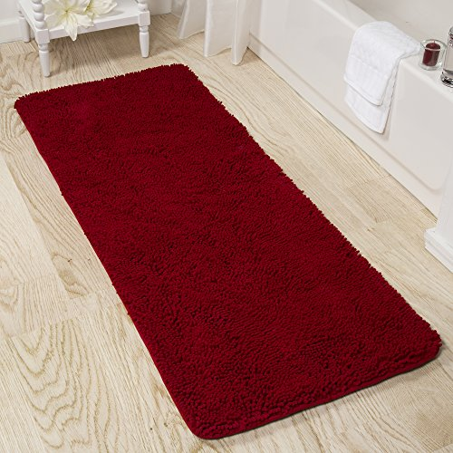 Bedford-Home-Memory-Foam-Shag-Bath-Mat-2-Feet-by-5-Feet-Burgundy-0