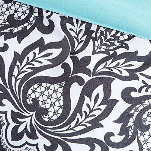 Black-White-Aqua-Teal-Girls-FullQueen-Reversible-Damask-Comforter-SUPER-SET-2-Matching-Shams-2-BONUS-Decorative-Pillows-Linens-Beyond-Flashlight-6-Piece-Bedding-Set-0-0