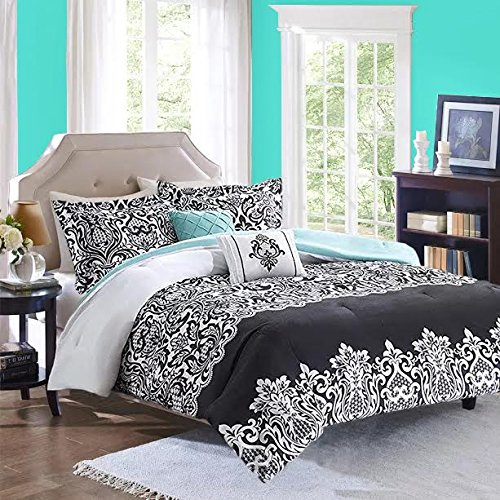 Black-White-Aqua-Teal-Girls-FullQueen-Reversible-Damask-Comforter-SUPER-SET-2-Matching-Shams-2-BONUS-Decorative-Pillows-Linens-Beyond-Flashlight-6-Piece-Bedding-Set-0