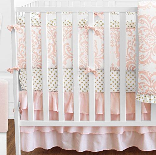 Blush-Pink-White-Damask-and-Gold-Polka-Dot-Amelia-Baby-Girls-9-Piece-Crib-Bedding-Set-with-Bumper-0-0