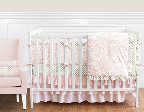 Blush-Pink-White-Damask-and-Gold-Polka-Dot-Amelia-Baby-Girls-9-Piece-Crib-Bedding-Set-with-Bumper-0