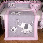 Boutique-Pink-Gray-Elephant-13pcs-Crib-Bedding-Sets-0-0