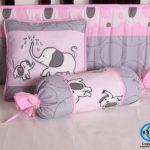 Boutique-Pink-Gray-Elephant-13pcs-Crib-Bedding-Sets-0-1
