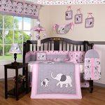 Boutique-Pink-Gray-Elephant-13pcs-Crib-Bedding-Sets-0