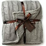 Cable-Knit-Sherpa-Oversized-Throw-Reversible-Blanket-Faux-Sheepskin-Lined-Cozy-Cotton-Blend-Sweater-Knitted-Afghan-in-Grey-White-or-Turquoise-Blue-0-0
