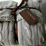 Cable-Knit-Sherpa-Oversized-Throw-Reversible-Blanket-Faux-Sheepskin-Lined-Cozy-Cotton-Blend-Sweater-Knitted-Afghan-in-Grey-White-or-Turquoise-Blue-0-1