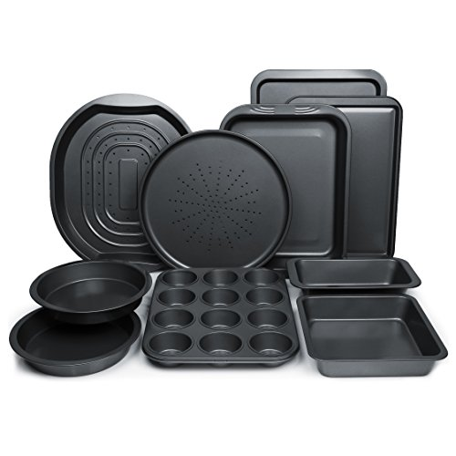 ChefLand-10-Piece-Non-Stick-Bakeware-Set-Oven-Crisper-Pizza-Tray-Roasting-Loaf-Muffin-Square-2-Round-Cake-Baking-Pans-Large-and-Medium-Nonstick-Cookie-Sheet-Bake-Ware-for-Home-Kitchen-Use-0