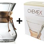 Chemex-Classic-Wood-Collar-and-Tie-Glass-8-Cup-Coffee-Maker-with-100-Count-Bonded-Circle-Coffee-Filters-0