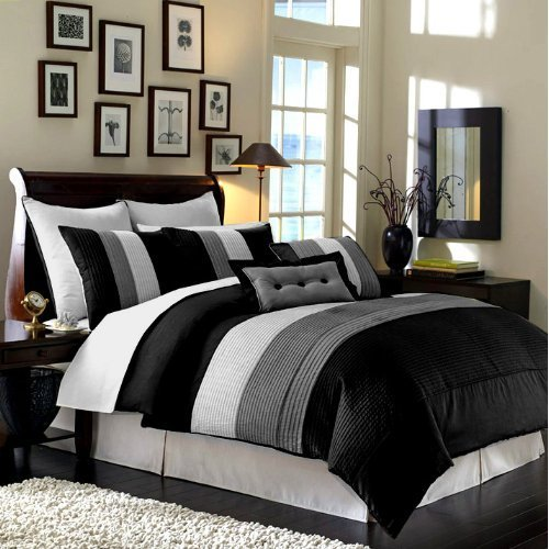 Chezmoi-Collection-90-x-92-inch-8-Piece-Luxury-Stripe-Comforter-bed-in-a-bag-Set-Queen-0