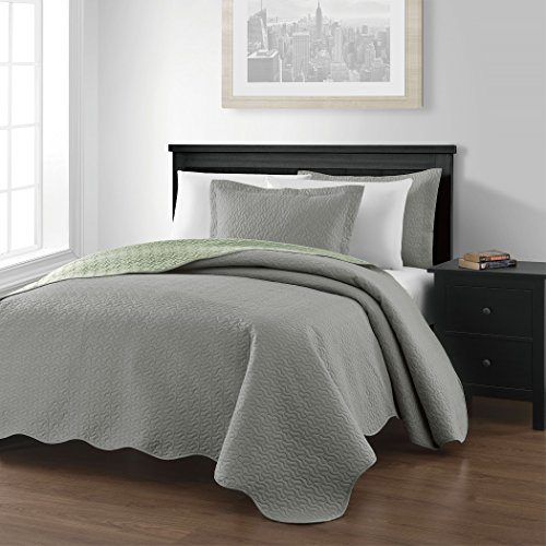Chezmoi-Collection-Mesa-3-piece-Oversized-118×106-Reversible-Bedspread-Coverlet-Set-King-GraySage-0