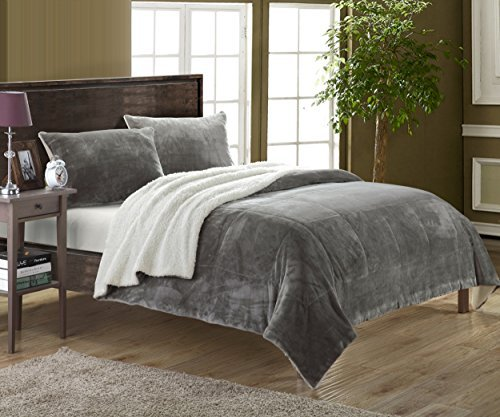 Chic-Home-3-Piece-Evie-Microplush-Mink-Like-Super-Soft-Sherpa-Lined-Comforter-Set-Queen-Grey-0