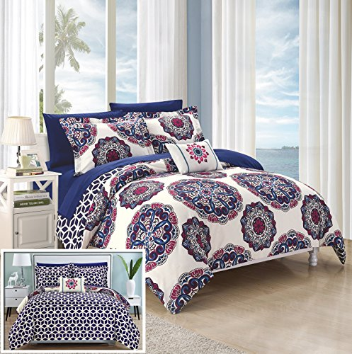 Chic-Home-8-Piece-Barcelona-Super-Soft-microfiberREVERSIBLE-King-Bed-In-a-Bag-Comforter-Set-Navy-With-sheet-set-0