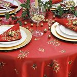 Christmas-Square-60-x-60-inch-Stain-Resistant-Coated-Tablecloth-Olives-Bouquet-in-Red-Indoor-and-Outdoor-Use-Easy-Care-Cotton-Acrylic-French-Provence-Fabric-Water-and-Stain-Resistant-0-0