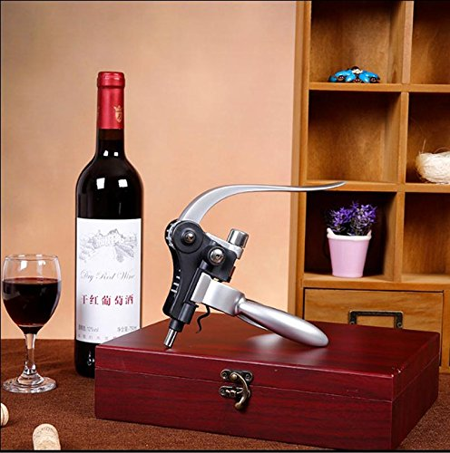 Cooko-Wine-Opener-KitStainless-Steel-Red-Wine-Beer-Bottle-Opener-Wing-Corkscrewaerator-Thermometer-Stopper-and-Accessories-Set-with-Dark-Cherry-Wood-Case-9-Piece-0-0