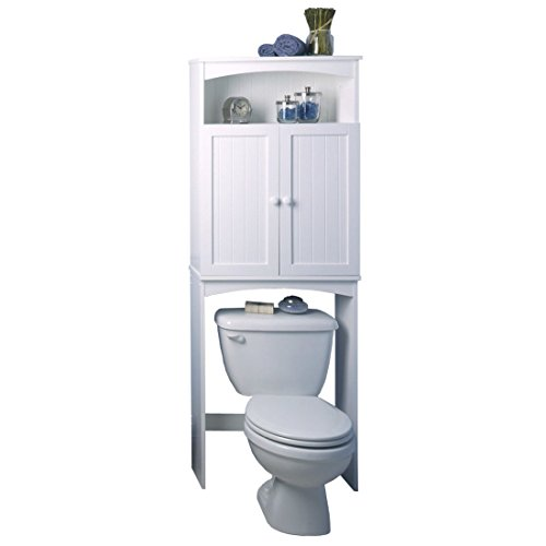 Cottage-2463-x-6475-Over-the-Toilet-Cabinet-White-Finish-Wood-Construction-Comes-with-Hidden-Storage-with-Adjustable-Shelf-Traditional-Style-0