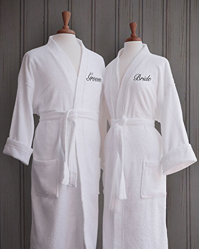 Couples-Terry-Cloth-Bathrobe-Set-100-Egyptian-Cotton-UnisexOne-Size-Fits-Most-Luxurious-Soft-Plush-Elegant-Script-Embroidery-Perfect-Wedding-Gift-Luxor-Linens-San-Marco-0