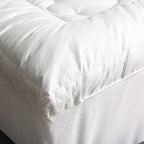 CozyClouds-Extra-Plush-Luxurious-Billowy-Clouds-Hypoallergenic-Gel-Fiber-Poly-Overfilled-Quilted-Pillow-Top-Thick-300-Thread-Count-100-Cotton-Cover-Queen-Size-Fitted-Mattress-Topper-Pad-White-by-DownL-0-1