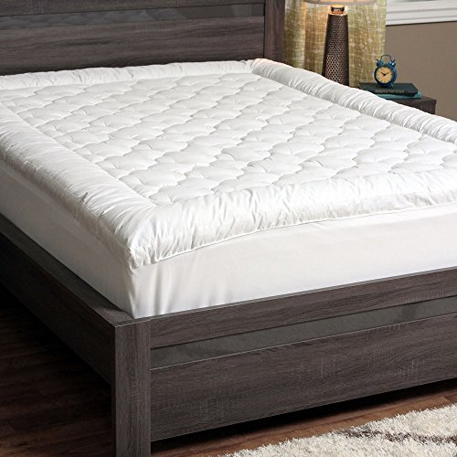 CozyClouds-Extra-Plush-Luxurious-Billowy-Clouds-Hypoallergenic-Gel-Fiber-Poly-Overfilled-Quilted-Pillow-Top-Thick-300-Thread-Count-100-Cotton-Cover-Queen-Size-Fitted-Mattress-Topper-Pad-White-by-DownL-0