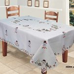 Creative-Linens-Holiday-Embroidered-Snowman-and-Christmas-Tree-Table-Cloth-70×104-Rectangular-with-12-Napkins-White-0